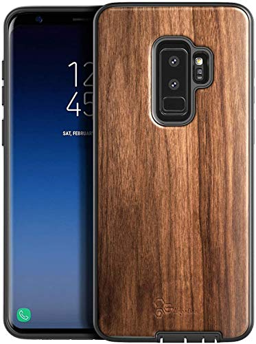 E-Began Case for Samsung Galaxy S9 (2018 Release), [Real Natural Walnut Wood], Dual Layer Hybrid Protective Shockproof Bumper Phone Case (Every Piece is Unique) -Wood