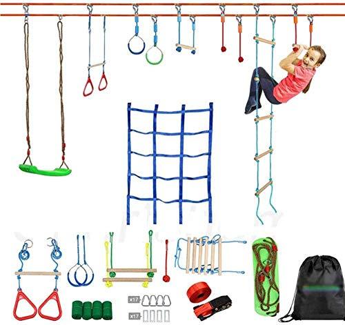 Ninja Slackline de 50 pies para niños con escalera de columpio de red de escalada, carrera de obstáculos de guerrero ninja, poste de escalada, anillo de gimnasia, nudo de cuerda para gimnasio en casa