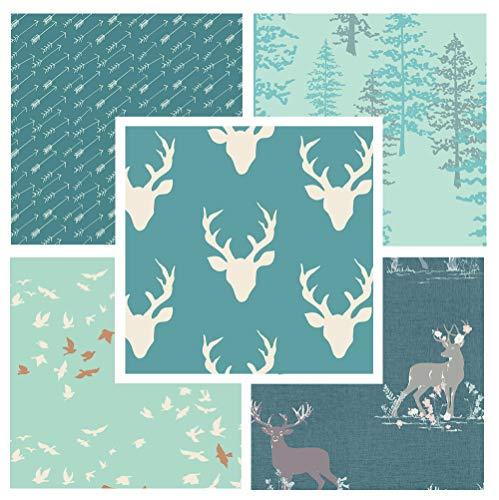 5 Fabric Bundle - Hello Bear - Blithe - Nightfall - Art Gallery Fabrics - Teal - Deer Antlers Flowers Baby Boy Quilt (Fat Quarters)