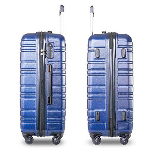 MDDCER Travel Trolley Lightweight Hard Shell Blue 4 Wheel Suitcase Luggage Set Holdall Cabin Case 24 Inch