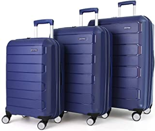 Eono by Amazon Expandable Luggage Set of 3 Piece Polypropylene Hard Shell Anti-Scratch Suitcases with 4 Spinner Wheels and...