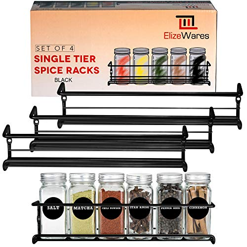 ElizeWares Wall Mount Spice Rack Organizer for Cabinet Door  Set of 4 Hanging Spice Shelves in Black 115 x 25 x 25 Inches