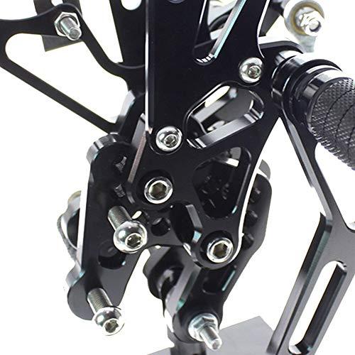 Estriberas Moto For Suzuki GSXR1000 K7 K8 GSXR 1000 2007-2008 Motocicleta Reposapiés de Aluminio Set Rearset Trasera de reposapiés reposapiés (Color : Black)