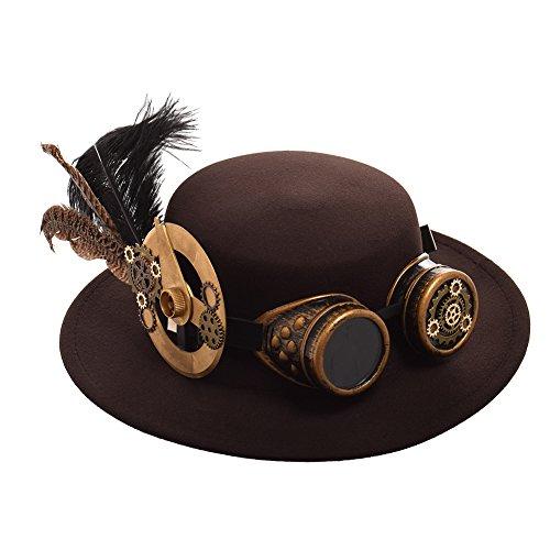 BLESSUME Sombrero Steampunk Gótico Chistera con Gafas Unisex (Colore H, M)