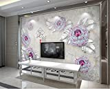 Sala de estar hogarEstilo europeo hermosa joyería de piedras preciosas 3D flor TV pared de fondo
