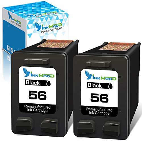 Inkwood 56 Remanufactured Druckerpatronen für HP 56XL für HP DeskJet 450ci 5150 5550 5652, Photosmart 7760 7960, PSC 1210 1215 1315 1350, OfficeJet 4212 4215 (2 Schwarz,2er Pack)