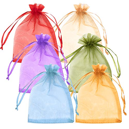MHwan Bolsas de Organza Medianas, Bolsas de Organza, Exquisitas Bolsas de Organza pequeñas y Coloridas con cordón para Boda, cumpleaños, Baby Shower, Fiesta, 120 Piezas, 10x15CM