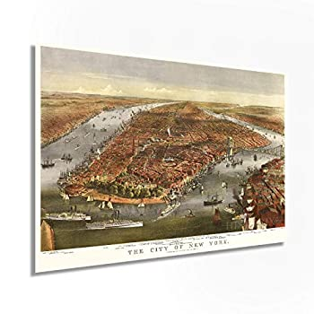 Historix Vintage 1870 Map of New York City Poster - 24x36 Inch Vintage Map Wall Art - Panoramic New York City Wall Map - NYC Vintage Map - Vintage New York Poster - NYC Map Wall Art  2 sizes