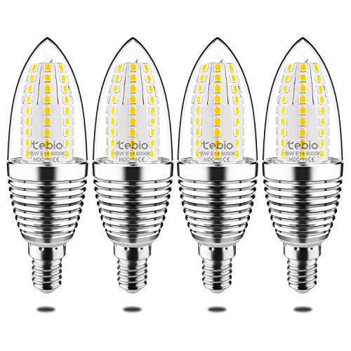 Tebio LED E14 15W Kerze Glühbirne, entspricht 120W Glühlampe, 6000 K Kaltweiß, 1500lm, CRI>80 +, nicht dimmbar Kandelaber LED Glühlampen, 4 Stück