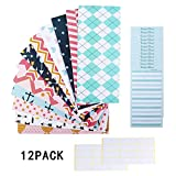 12 Pack Budget Envelopes, Money Cash Envelopes, Waterproof Laminated Cash Envelope System for Cash Savings, Budget Planning with Extra 12 PCS Budget Sheets for Finance Record and 24 PCS Label Stickers