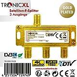 TronicXL 3fach 24k Gold F-Stecker Antennenverteiler DC-Durchlass TV Kabelfernsehen DVB-C