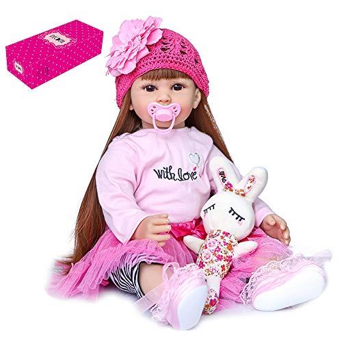 Sunbaca Reborn Dolls 24 polegadas Re stic Baby Silicone Vinyl & Algodão Body Toddler Dolls Bebê realístico de peso com camisa rosa e saia de tule