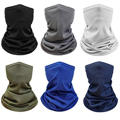 6 pezzi protezione solare UV collo ghette sciarpa copertura traspirante raffreddamento viso bandana per estate ciclismo escursionismo pesca - - M