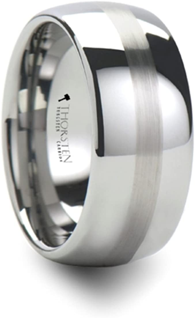 BELLATOR Domed with Brushed Center Stripe Polished Tungsten Ring 10mm Wide Wedding Band