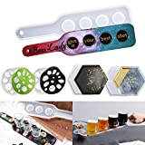 5 pcs Resin Shot Glass Serving Board Mold with Coasters, 4 Hole Epoxy Beer Shots Flight Tray Molds with Silicone Lotus Root and Hexagonal Shape Coaster Molds