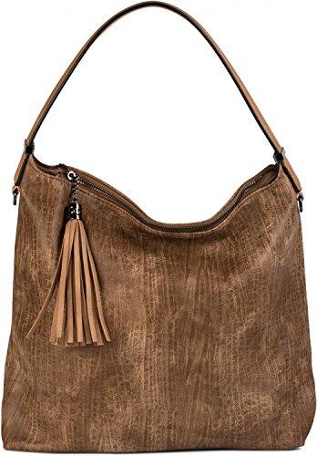 styleBREAKER Hobo Bag Handtasche im Vintage Used Look, Quaste, Henkeltasche, Shopper, Tasche, Damen 02012149, Farbe:Camel