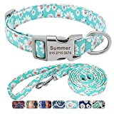 Beirui Floral Dog Collars and Leashes for Small Medium Large Dogs, Soft Ethnic Style Personalized Dog Collars with Name Plate Engraved, S(5/8' Wide,Neck fit 8.5-14') & 5FT Leash