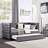 SOFTSEA Twin Daybed with Trundle, Tufted Sofa Bed with Nailhead Trim, Upholstered Daybed Frame, Grey