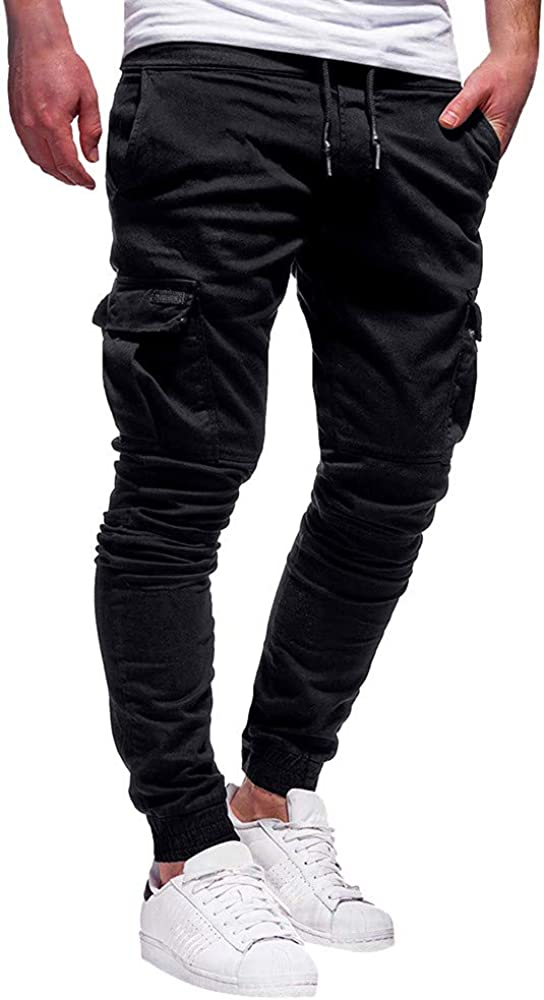 ZSBAYU Mens Cargo Trousers Slim Fit Jeans Skinny Jogging Elasticated Waist Drawstring Chinos Pants Tracksuit Bottoms Trousers
