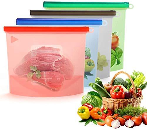 Bolsas reutilizables de silicona para almacenamiento de alimentos.Alimentos/congeladores de silicona con cierre hermético aptos para lavavajillas ecológicos (4 piezas (1l))