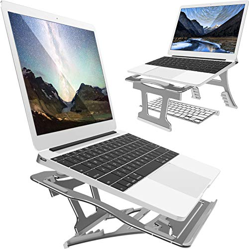 Laptop Stand, 9 Angles, 3 Folding Modes Portable Laptop Aluminum Stand. Adjustable Height Laptop Holder with Slide-Proof Silicone for Laptop 10''~15.6''(Space Gray)