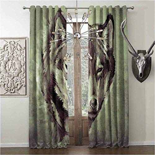 Grommet Window Curtains, Tattoo Energy Efficiency Print, Decor Room Darkening, W108 x L84 Inch, White and Black, Head of Wolf The Fierce Warrior Big Dog of The Forest Winter Season Theme Image,