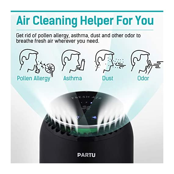 """PARTU HEPA Air Purifier for Home Up to 160ft²- Smoke Air Purifier with 7 Colors Nightlight, Efficient Clear Up Smoke… 3 🍃Efficient Three-Stage Filtration System🍃 PARTU Air Purifier features a three-stage filtration system. This comprises a pre-filter, a HEPA filter and an activated carbon filter, powerful enough to clear up pollen, smoke, odor, pet dander, filters particles as small as 0.3 microns and air pollution of PM 2.5. Anion neutralize pollutants such as dust in the air. 🍃Alternative Iridescent Night Light🍃 The alternative lights are very mood enhancing. It can act as night lights if you have you air purifier on at night. And you can choose and keep one color you like most. If no need the light, just press light button for 3 seconds to turn off. 🍃Ultra-Silent 3 Fan Speeds Setting🍃Partu air purifier with true hepa filter Noise Level-25-48dB, even on the highest setting, the """"noise"""" can be qualified as static background noise, will not distrub you during work, study and sleep. 3 different levels fan speeds can be selected according to the actual air quality and space for energy saving."""