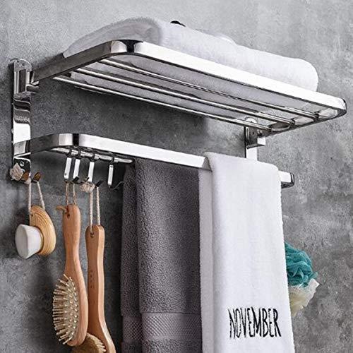 Blanco 2 niveles plegables de acero inoxidable toalla de baño toalla de almacenamiento soporte de pared suspensión de pared toalla de inodoro pulido estante de ropa con 9 ganchos