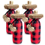 Townshine Christmas Buffalo Plaid Wine Bottle Cover Decorative, Faux fur cuff Sweater Wine Bottle Holder Pouch Bags For Xmas Dinner Party Ornament 4 Pack