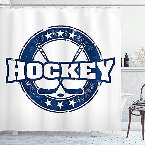 ASDAH Hockey douchegordijn verweerd uitziende vintage stempel samenstelling tekst stokken en sterren in ronde doek stof badkamer Decor Set met haken marineblauw 66 * 72in