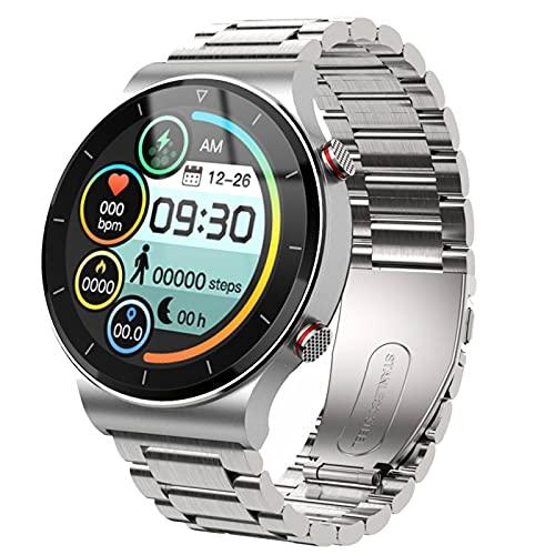 HJYBYJ Smart Watch da Uomo Guarda Sportiva A Schermo Intero Touch Bluetooth Call Chiamata Cardiofrequente IP67 Impermeabile (Color : Silver)