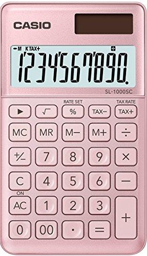 Casio SL-1000SC-WE stijlvolle rekenmachine, 10-cijfers, wit 0.9 x 7.1 x 12 cm roze