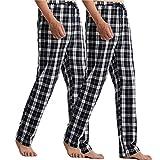 Pantalones de Pijama Hombre Pantalón Algodón Pijama Suelto de Cuadros Largos Pantalones de Casa para Hombre,Black and White,Medium