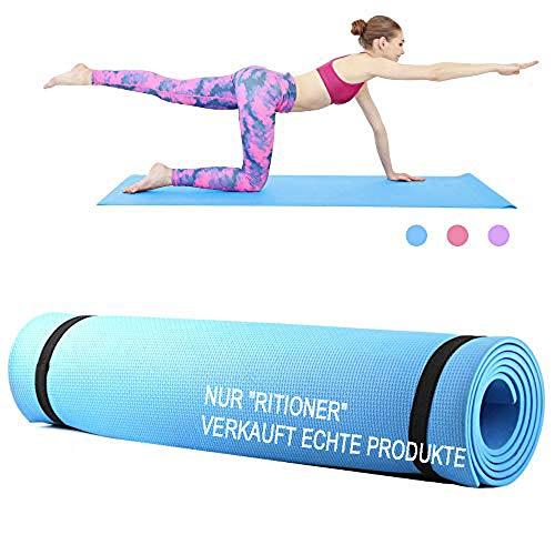 Roeam Yogamatte,Fitness Sportmatte, Yogamatte rutschfest,Yoga Matte,Household Gym Training Pad für Frauen Männer,173 * 61 * 0.6 cm,Blau