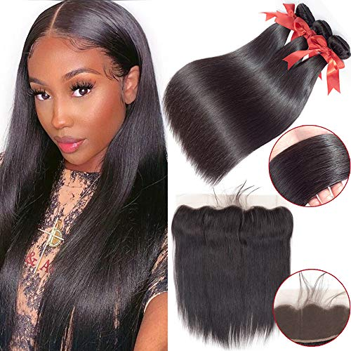 Wigs For Women Straight Hair Bundles With Frontal Closure Malaysia Hair Weave Bundles With Frontal Remy Human Hair Bundles With Closure Women's Wigs (Length : 22 24 26 28with20)