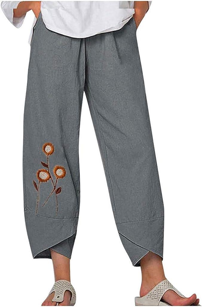 MASZONE Capri Pants for Women Capri Palazzo Harem Wide Leg Pants with Pockets Casual Cropped Pants Baggy Trousers
