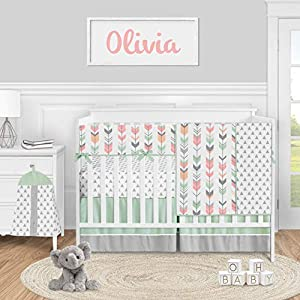 Sweet Jojo Designs Woodland Arrow Baby Girl Nursery Crib Bedding Set – 5 Pieces – Mod Coral Grey and Mint