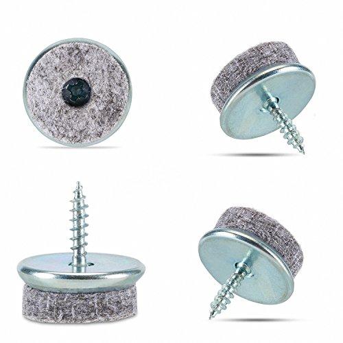 Incutex 20x Filzgleiter rund Ø 22 mm zum Schrauben Möbelgleiter Möbel Pads Stuhlgleiter Bodengleiter furniture pads, grau