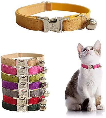 Personalized Cat Collar with Name Plate Adjustable Tough Nylon Cat ID Collars with Bell Customize product image