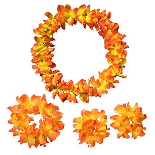 Demarkt 12Hawaii Flower Garlands Hawaiian Lei Garland Necklace with Multi-Coloured Necklace Summer Tropical Hawaiian Luau Flower Hawaiian Lei Garlands, Set of 4 Orange