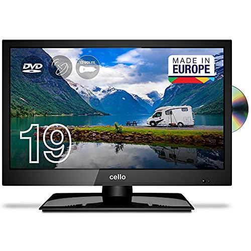 Cello 12 Volt C1920FMTRDE 19' (47 cm Diagonale) Traveller HD Ready LED Digital TV mit eingebautem DVD Player, DVBT2 S2 Triple Tuner und 12V/24V für Wohnmobil, Truck, LKW