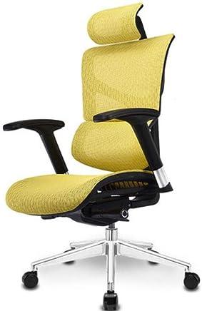 ゲームシート、オフィスチェア、人間工学に基づいた背もたれ回転リフト式デスクチェア (色 : 黄)