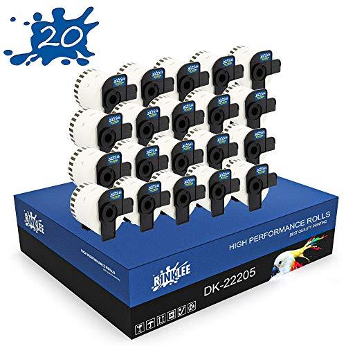 RINKLEE DK-22205 Endlos-Etiketten kompatibel für Brother P-Touch QL-500 QL-550 QL-560 QL-570 QL-700 QL-710W QL-720NW QL-800 QL-810W QL-820NWB QL-1060N QL-1100 QL-1110NWB | 62 mm x 30.48 m | 20 Rollen