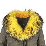 Deargles Cuello de piel sintética, cuello de piel sintética, cuello de piel sintética, bufanda de pelo de mapache, abrigo de invierno con capucha, borde de 90 x 18 cm amarillo Talla única