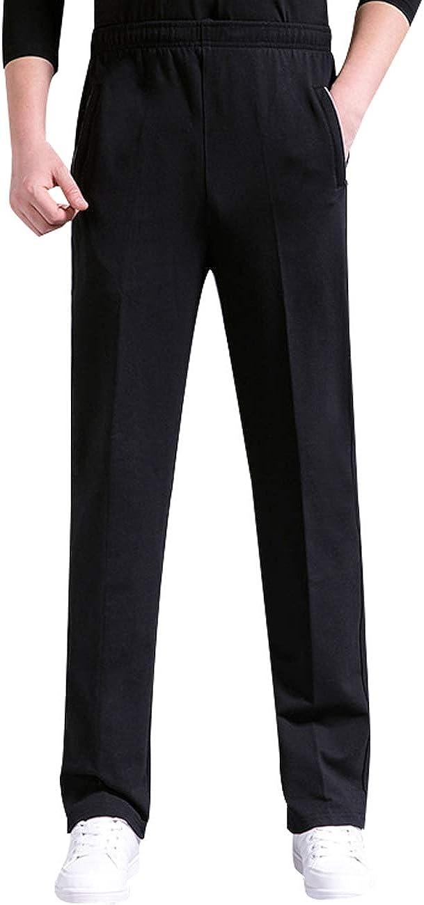 Zoulee Men's Elastic Waist Open Bottom Sweatpants with Zip Decorative Pockets