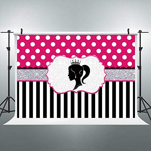 Riyidecor Barbie Party Backdrop Black and White Stripe Polka Dot 8Wx6H Feet Photography Background Glamour Girl Lady Birthday Party Banner Cake Table Decoration Decor Props Photo Shoot Vinyl Cloth