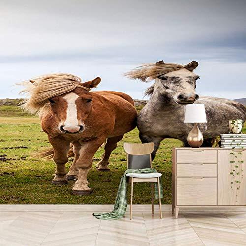 Msrahves Fotomurales decorativos El cielo los pastizales los animales los caballos Murales adhesivos y pegatinas de pared Papel pintado suministros pintado Papel pintado Hogar cocina Obras de arte mat