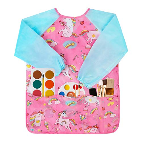 BASSION SMOCKS 어린이 유아 아트 작성 아티스트 그림 앞치마 2-6 세 어린이 | 아이 | 소년 | 소녀를위한 라운드 넥 23 X 17 인치