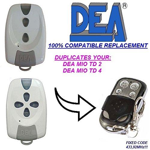 DEA MIO TD 2, MIO TD 4 compatible con el mando a distancia CLONE, 433,92 Mhz clon de código fijo!! !