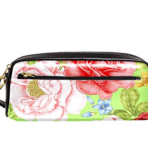 AITAI PU Leather Pencil Case Colorful Flowers Zipper Pen Pouch for School, Work & Office